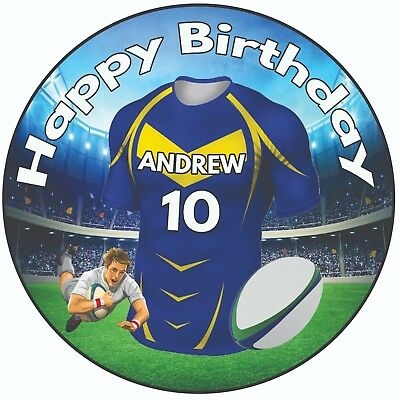 Personalised Birthday Cake Topper 8  Icing Rugby Shirts Leeds Rhinos Colours • 5.49£