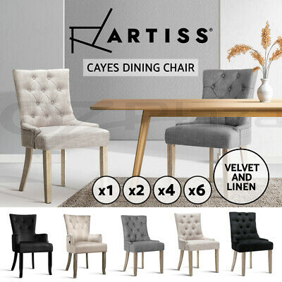 AU109.95 • Buy Artiss Dining Chairs Fabric French Provincial Chair Wooden Kitchen Cafe X1/2/4/6