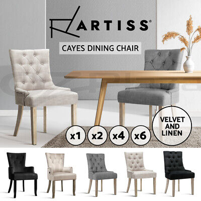AU140.95 • Buy Artiss Dining Chairs Fabric French Provincial Chair Wooden Kitchen Cafe X1/2/4/6