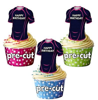 £4.49 • Buy PRECUT Rugby Shirt Birthday Cup Cake Toppers Decorations Stade Francais Colours