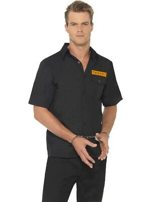 Prison Shirt Convict Prisoner Cops & Robbers Costume Mens Medium Fancy Dress • 11.99£