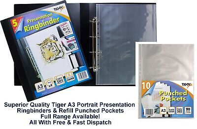 A3 Landscape Display Portfolio / Sleeves Presentation Folder 4D Ring Binder 50mm • 4.99£