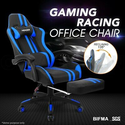 AU229.95 • Buy PU Leather Ergonomic Gaming Racing Office Computer Chair With Footrest BL & BK