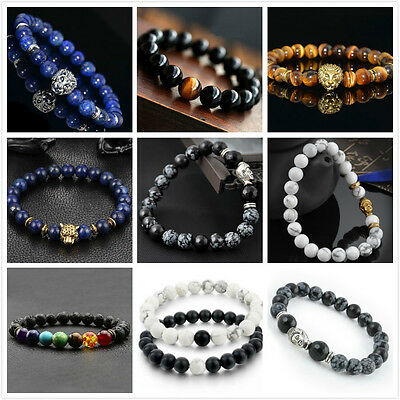 $1.43 • Buy Men Women Natural Gemstone Beads Lava Rock Stone Bracelet Lion/Buddha Head Bead