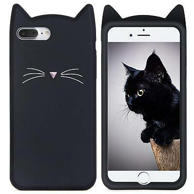 AU10.49 • Buy For IPhone 7+ Plus - Soft Silicone Rubber Case Cover Black Cat Kitty Whiskers