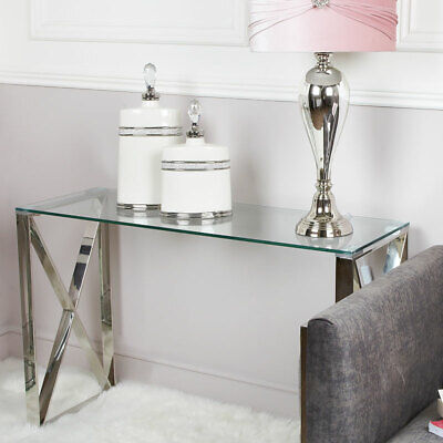 £154.95 • Buy Zenn Contemporary Stainless Steel Clear Glass Console Hall Display Table