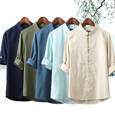 Men's Chinese Style Long Sleeve Shirts Cotton Linen Kung Fu Shirt Tops Vintage • 10.56£