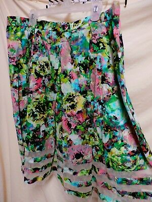 Harper & Liv NWT Plus Size Colorful Cotton Netted Trimmed Zippered Skirt 16 • 14.18£
