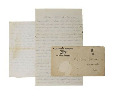 $195 • Buy Civil War Letter - 40th Massachusetts Recruit Cuts Own Fingers Off For Discharge