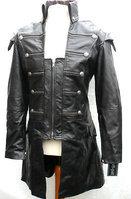 HAND MADE Mans 100% REAL LEATHER Black Steampunk Jacket Coat  GOTH PUNK ROCK • 117.40£