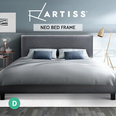 AU169.95 • Buy Artiss Bed Frame Double Size Base Mattress Platform Fabric Wooden Grey NEO