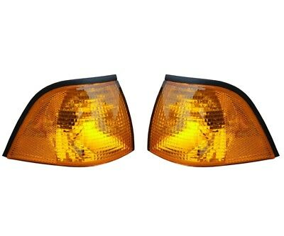 $75.95 • Buy For BMW E36 3-Series Genuine Pair Set Of Front Turn Signal Light W/ Yellow Lens