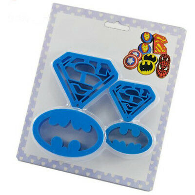 4pcs Superman Batman Plastic Mould Cookie Candy Mould Cutter Set For Kids Party • 1.69£