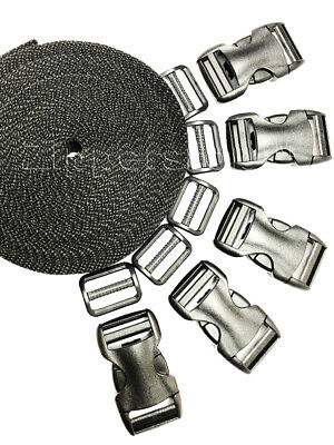 $8.59 • Buy YKK Flat Side Release Buckles And Tri-glide Slides With Nylon Webbing Straps
