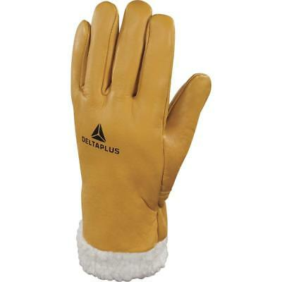 £9.99 • Buy Delta Plus Fur Lined Leather Ski Gloves Winter Warm Cold Driving Thermal Alps