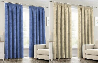 Marble Curtains Thermal Blackout Lined Pencil Pleat Pair Of Ready Made Curtains • 18.95£