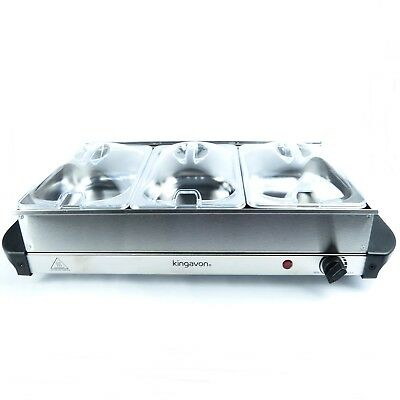 Buffet Server And Warming Tray Food Warmer Trays Hot Plate 3-Pan Stainless Steel • 26.99£