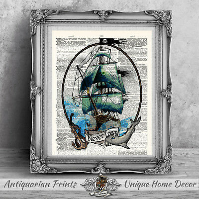 Pirate Art Print On Antique Dictionary Book Page, Bathroom Wall Decor Tattoo Art • 5.99£