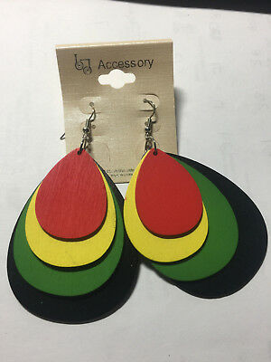 $7.75 • Buy Irie Beads Reggae Rasta Red Yellow Green Black Earrings