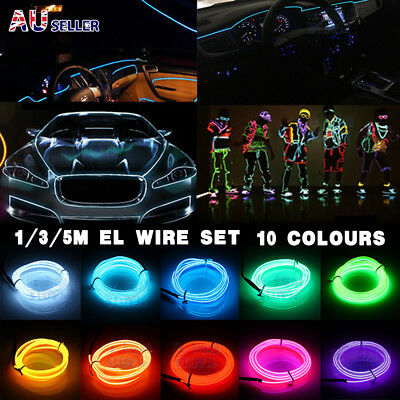 AU7.95 • Buy 5M/3M Battery Operated Luminescent Neon LED Lights Glow EL Wire Party Strip Rope