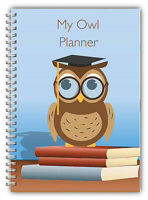 £7.44 • Buy A5 Non Personalised Planner Diary Journal Owl 100 Pages Wire Bound Any Year