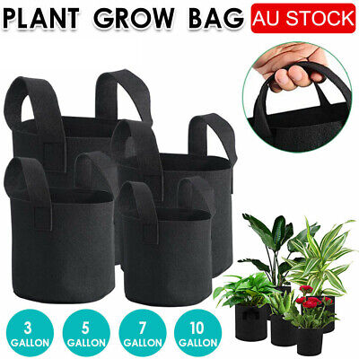 AU17.99 • Buy Up To 10 Fabric Plant Pots Grow Bags With Handles 3 5 7 10 Gallon