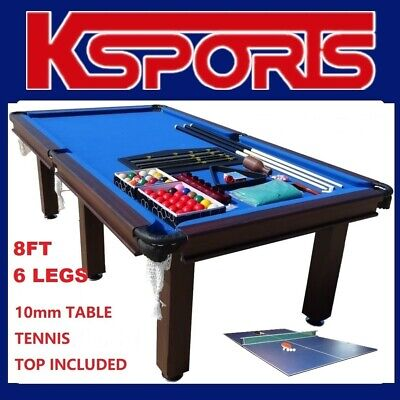 AU839.99 • Buy Pool Table 8ft Snooker Billiard Table 6 Legs Leather Pockets With Table Tennis T