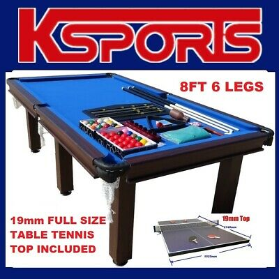 AU1045 • Buy Pool Table 8ft Snooker Billiard Table 6 Legs With 19mm Full Size Table Tennis To