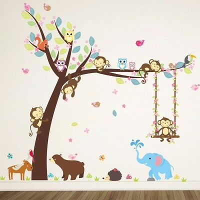 Jungle Animal Monkey Elephant Owl Tree Decal Wall Sticker Children's Bedroom  • 3.99£