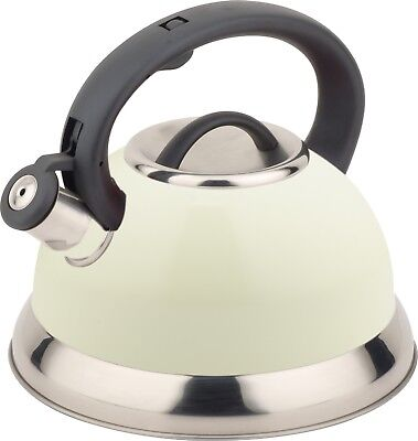 Buckingham Stainless Steel Stove Top Induction Gas Whistling Kettle 3 L - Cream • 22.99£