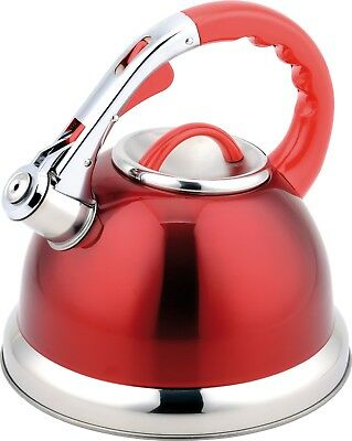 Buckingham Stainless Steel Stove Top Induction Gas Whistling Kettle 3.5 L - Red • 22.95£