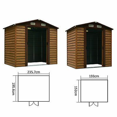 Garden Shed Tools Storage Overlap Construction Sliding Door Brown Wooden Grain • 324.99£