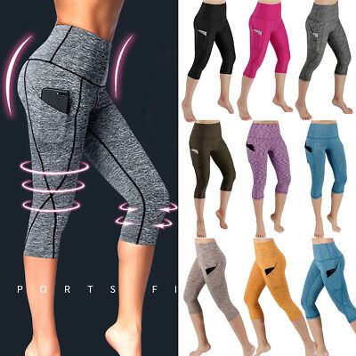 AU17.99 • Buy Women High Waist Yoga Pants Pocket Leggings Fitness Sports Athletic Trousers G18