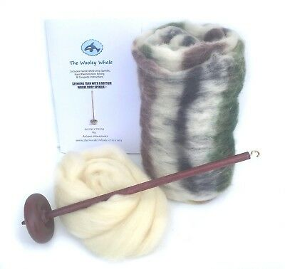 $33.95 • Buy Drop Spindle Yarn Spinning Kit Maple Wood Colorway, Birch Trees