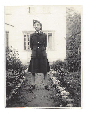 WW2 Lady In Uniform Pictured In The Garden Vintage Photograph C1944 • 5.45£