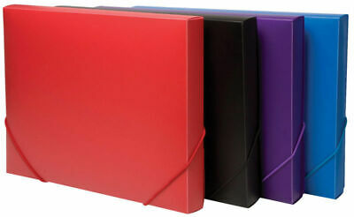 £5.99 • Buy A4 Solid Plastic Box File Office Elasticated Document Storage Folder