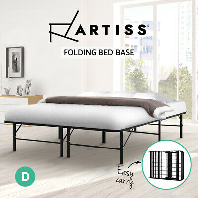 AU120.90 • Buy Artiss Double Size Folding Bed Frame Mattress Base Portable Black Metal Platform