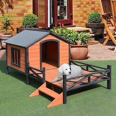 $279.99 • Buy Wood Dog House Elevated Pet Shelter Large Kennel Weather Resistant Home Outdoor