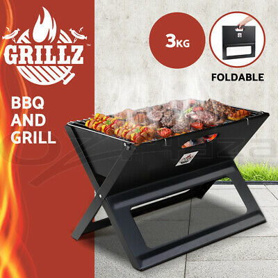AU34.90 • Buy Grillz BBQ Grill Charcoal Smoker Outdoor Portable Camping Folding Steel Barbecue