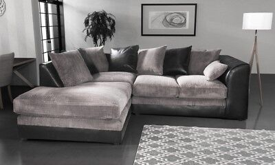 *** BRAND NEW*** Modern Black Grey Fabric Corner Sofa Cheap LEFT & RIGHT 3 AND 2 • 379£