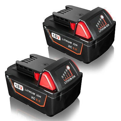 AU85.99 • Buy 2X For Milwaukee M18 M18B4 48-11-1840 48-11-1828 XC 5.0AH 18V Lithium Battery