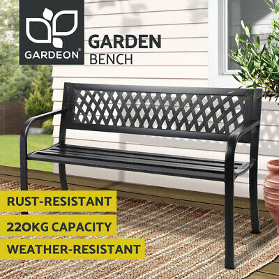 AU79.75 • Buy Gardeon Garden Bench Seat Steel Outdoor Lounge Patio Furniture Park Chair Black