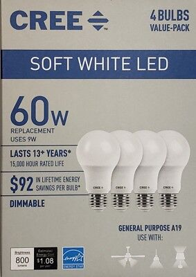 $7.95 • Buy CREE 60W Equivalent Soft White (2700K) A19 Dimmable LED Light Bulb (4 Pack)