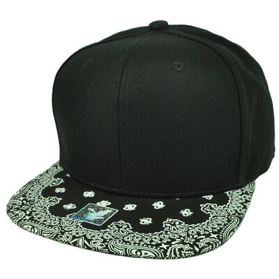 AU18.30 • Buy Black White Bandana Print Pattern Flat Bill Hat Cap Snapback Plain Blank Solid