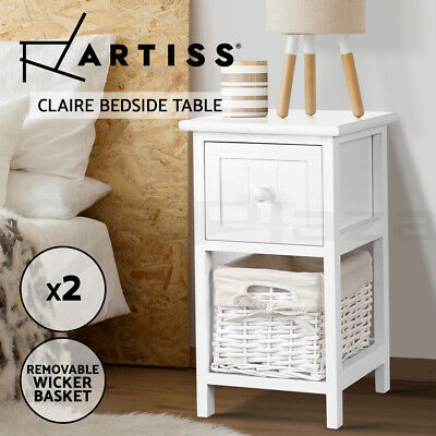 AU89.95 • Buy Artiss Bedside Tables Drawers Side Table Storage Cabinet Nightstand Bedroom X2