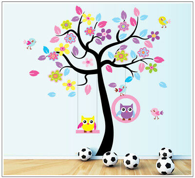 Wall Sticker Cartoon Monkey Animal Bird Owl Tree Decal Art Children's Bedroom  • 10.59£