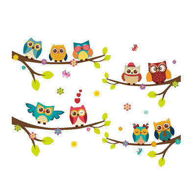 Family Home Wall Sticker Cartoon Owls The Tree Decal Art Children's Bedroom DIY • 3.99£