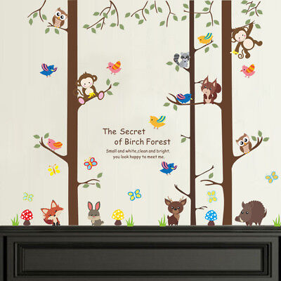 Forest Animals Monkey Fox Rabbit Owl Tree Decal Wall Sticker Children's Bedroom • 3.99£