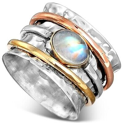$30.94 • Buy Sterling Silver 925 Moonstone Spinner Ring With Stone Meditation Women Size 7 8