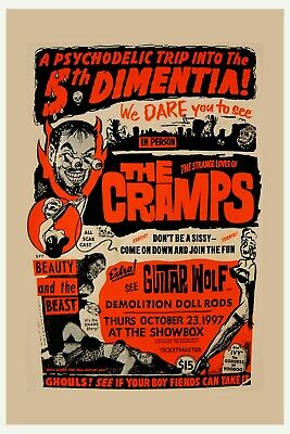 $12 • Buy PUNK: The Cramps  With Guitar Wolf At The ShowBox Concert Poster 1997  12x18